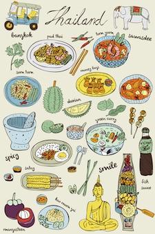 Doodles tajskie jedzenie i zestaw ikon, wektor
