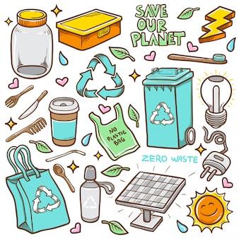 Doodles zero odpadów ręcznie rysowane kolorowanie ilustracji wektorowych