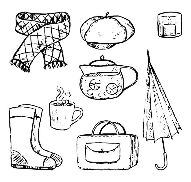 Doodles zestaw jesiennych przytulnych elementów. teczka, parasol, czajnik, kubek, szalik, buty, beret, świeca. ręcznie rysowane ilustracje wektorowe kolekcji. czarne obiekty na białym tle do projektowania