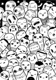 Doodling kawaii słodkie postacie, czarny atrament ilustracja na białym tle.