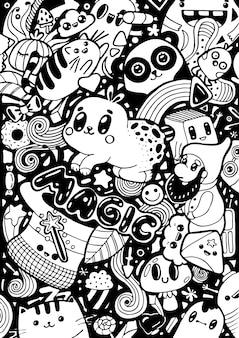 Doodling słodkie postaci z kreskówek kawaii. ręcznie rysowane szkic kolor biały i czarny.