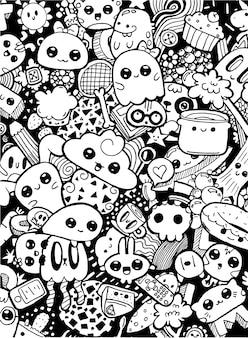 Doodling słodkie postacie z kreskówek kawaii. kolorowanka czarno-biała strona