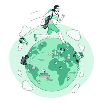 Dookoła świata ilustracja koncepcja