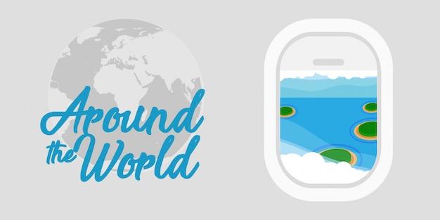 Dookoła świata tło podróży. samolot globalna wycieczka wakacje wakacje wycieczka transparent. rejs przygoda letnia podróż sen rekreacyjny. samolot biznesowy