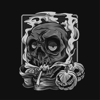 Doom wysoka czaszka halloween czarno-biała ilustracja