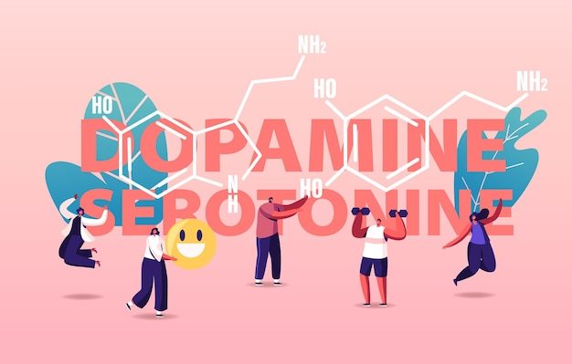 Dopamina, ilustracja serotoniny. ludzie cieszący się życiem z powodu produkcji hormonów w organizmie.