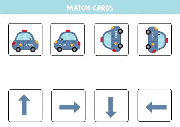Dopasowana gra dla dzieci. dopasuj orientację i samochód policyjny.
