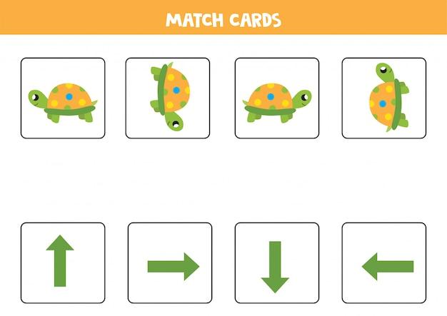 Dopasowana gra dla dzieci. dopasuj orientację i słodkie żółwie kreskówkowe.