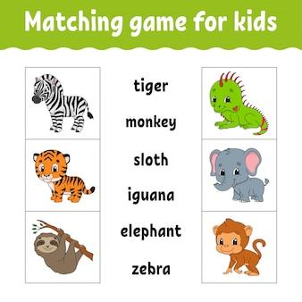 Dopasowana gra dla dzieci. znajdź poprawną odpowiedź. narysuj linię. uczenie się słów.