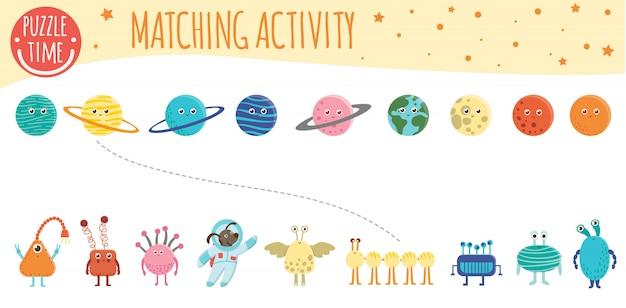 Dopasowywanie aktywności dzieci do planet, kosmitów i astronautów. temat kosmiczny. słodkie śmieszne uśmiechnięte postacie.