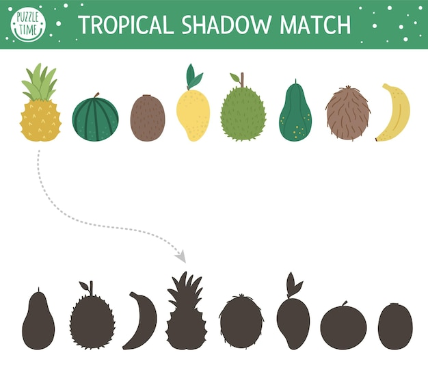 Dopasowywanie cieni tropikalnych dla dzieci. puzzle dżungli w wieku przedszkolnym. śliczna egzotyczna zagadka edukacyjna. znajdź prawidłowy arkusz roboczy z sylwetką owoców tropiku do wydrukowania.