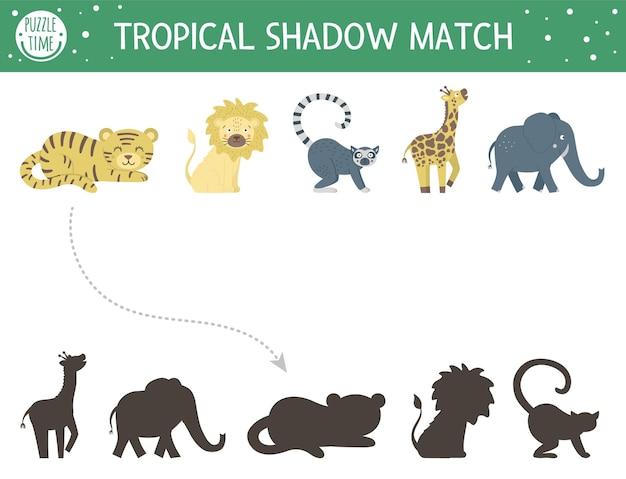 Dopasowywanie cieni tropikalnych dla dzieci. puzzle dżungli w wieku przedszkolnym. śliczna egzotyczna zagadka edukacyjna. znajdź prawidłowy arkusz roboczy z sylwetkami zwierząt tropikalnych do wydrukowania.