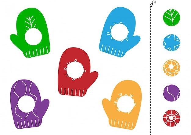 Dopasuj części ślicznych rękawiczek z kreskówek. cięcie i klejenie dla dzieci.