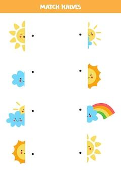Dopasuj części uroczych elementów pogodowych z kawaii. gra logiczna dla dzieci.