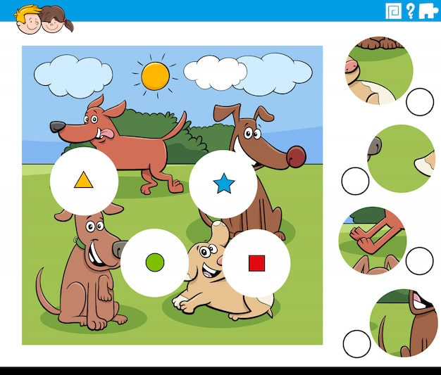 Dopasuj elementy układanki z grupą psów kreskówek