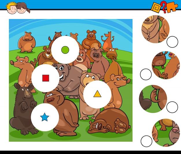 Dopasuj elementy układanki z grupą znaków niedźwiedzia