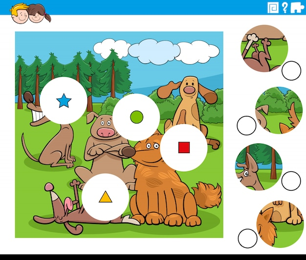 Dopasuj elementy układanki z postaciami szczęśliwych psów