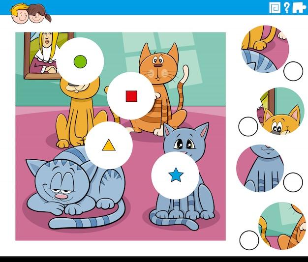 Dopasuj elementy układanki z zabawnymi postaciami kotów