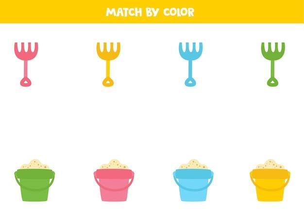 Dopasuj grabie i stosy kreskówek według kolorów. edukacyjna gra logiczna dla dzieci.