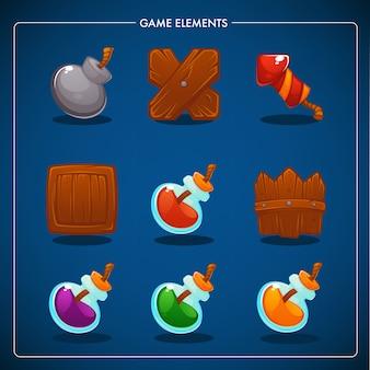 Dopasuj grę mobilną, przedmioty do gier, miksturę, bombę, dynamit, pudełko, płot, petardę