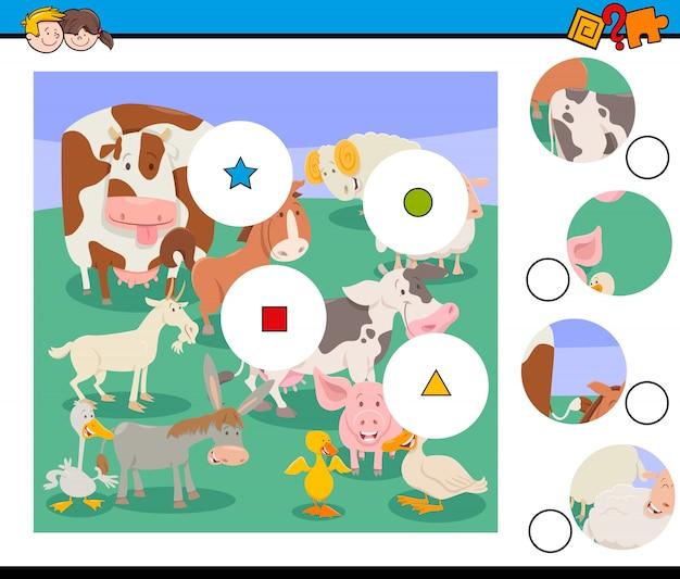 Dopasuj grę sztuk ze zwierzętami hodowlanymi