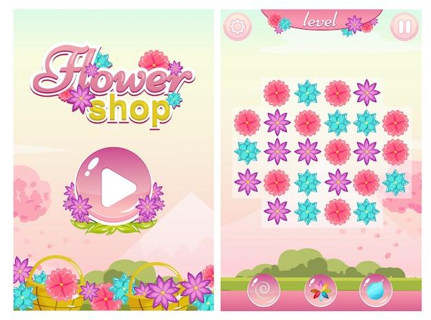 Dopasuj grę three flower shop z ekranem startowym