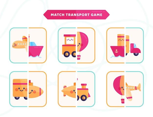 Dopasuj grę transportową dla dzieci