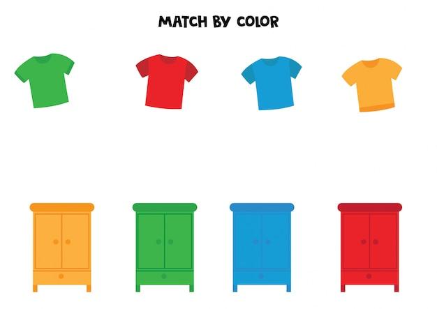 Dopasuj koszulki i garderoby według koloru.