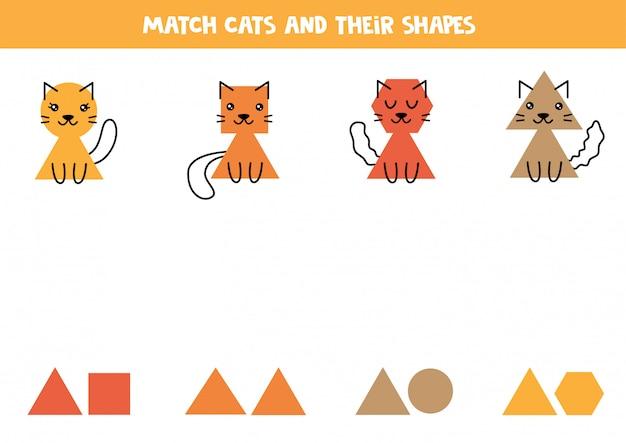 Dopasuj koty i geometryczne kształty. gra edukacyjna.