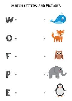 Dopasuj litery i obrazki. edukacyjna gra logiczna dla dzieci. arkusz do nauki alfabetu dla przedszkolaków. zwierzęta z kreskówek.