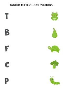 Dopasuj litery ze zdjęciami. początkowa gra dźwiękowa dla dzieci.