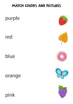 Dopasuj napisane słowa do odpowiednich zdjęć. arkusz edukacyjny dla dzieci. nauka kolorów.