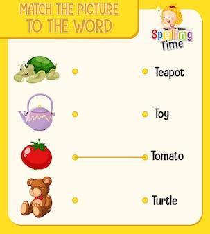 Dopasuj obrazek do arkusza ze słowami dla dzieci