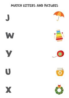 Dopasuj obrazki i litery. edukacyjna gra logiczna dla dzieci. arkusz ze słownictwem dla przedszkolaków.