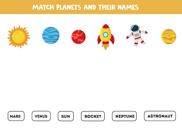 Dopasuj obrazy kosmosu i napisane słowa. gra edukacyjna dla dzieci. arkusz do czytania dla dzieci.