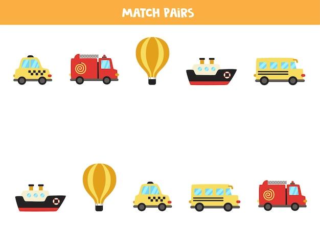 Dopasuj pary środków transportu z kreskówek. gra logiczna dla dzieci.