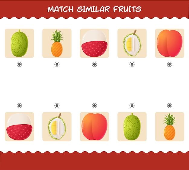 Dopasuj podobne owoce z kreskówek. gra w dopasowywanie.