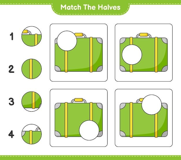 Dopasuj połówki. dopasuj połówki bagażu. gra edukacyjna dla dzieci, arkusz do druku