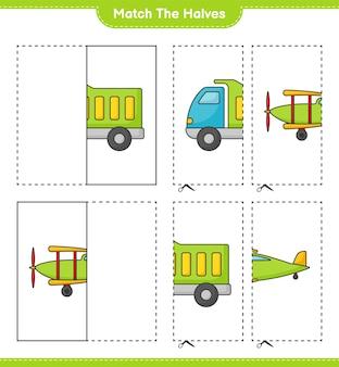 Dopasuj połówki dopasuj połówki ciężarówki i samolotu edukacyjna gra dla dzieci do wydrukowania