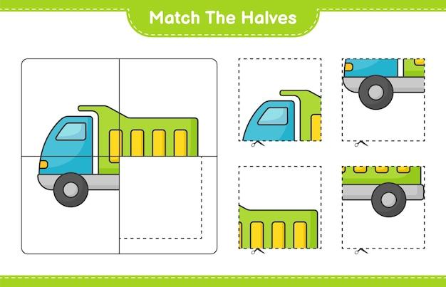 Dopasuj połówki dopasuj połówki gry edukacyjnej dla dzieci ciężarówek do wydrukowania