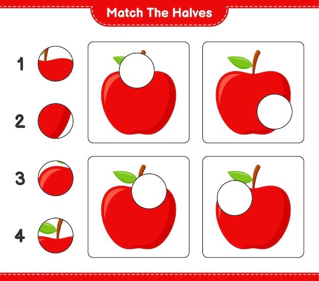 Dopasuj połówki. dopasuj połówki jabłka. gra edukacyjna dla dzieci, arkusz do druku