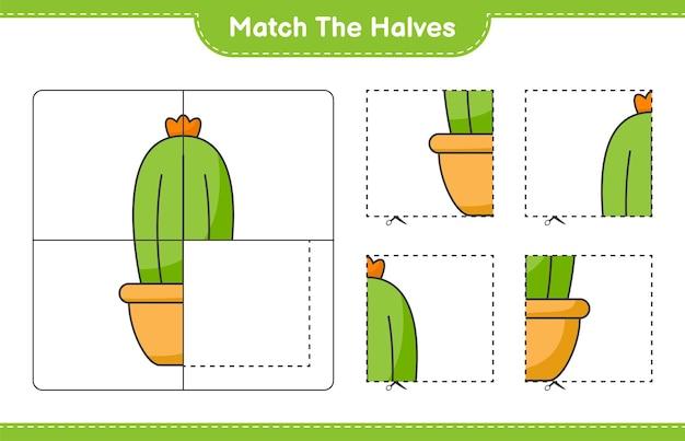 Dopasuj Połówki. Dopasuj Połówki Kaktusa. Gra Edukacyjna Dla Dzieci, Arkusz Do Druku Premium Wektorów