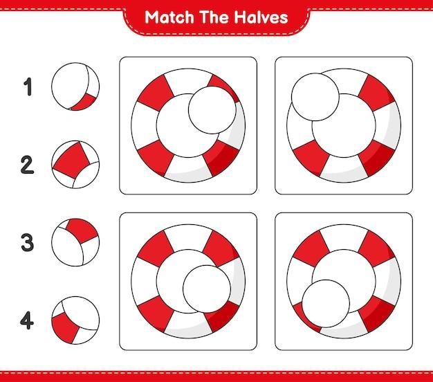 Dopasuj połówki. dopasuj połówki koła ratunkowego. gra edukacyjna dla dzieci, arkusz do druku