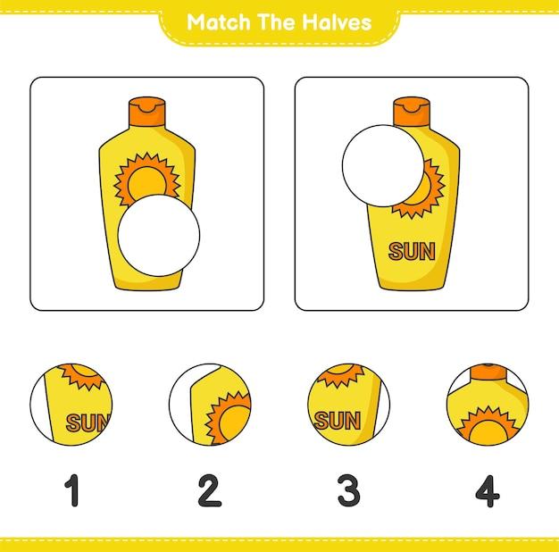 Dopasuj połówki. dopasuj połówki kremu przeciwsłonecznego. gra edukacyjna dla dzieci, arkusz do druku
