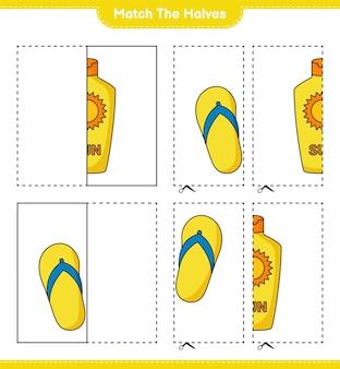 Dopasuj połówki. dopasuj połówki kremu przeciwsłonecznego i flip-flopa. gra edukacyjna dla dzieci, arkusz do druku, ilustracja wektorowa