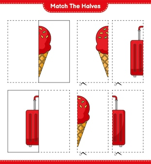Dopasuj połówki. dopasuj połówki lodów i torby podróżnej. gra edukacyjna dla dzieci, arkusz do druku, ilustracja wektorowa