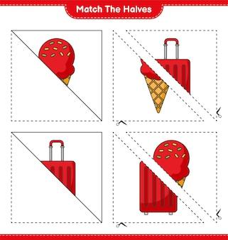 Dopasuj połówki dopasuj połówki lodów i torby podróżnej gra edukacyjna dla dzieci