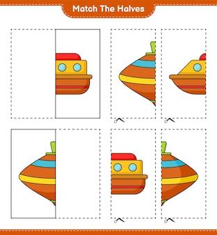 Dopasuj połówki dopasuj połówki łodzi i whirligig toy gra edukacyjna dla dzieci