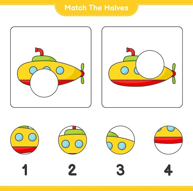 Dopasuj połówki dopasuj połówki łodzi podwodnej edukacyjna gra dla dzieci do wydrukowania
