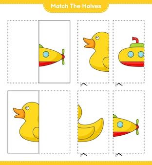 Dopasuj połówki dopasuj połówki łodzi podwodnej i gumowej kaczki gra edukacyjna dla dzieci